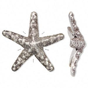 Focal, Hill Tribes, Antiqued Fine Silver, 54mm Starfish. Sold Individually