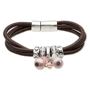 "Bracelet, 3-strand, Leather (dyed) / Glass Rhinestone / Antiqued Silver-finished ""pewter"" (zinc-based Alloy), Brown Pink, 11mm Wide, 7-1/2 Inches Magnetic Clasp. Sold Individually 5158JD"