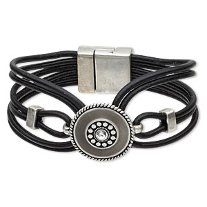 "Bracelet, 6-strand, Leather (dyed) / Swarovski® Crystals / Epoxy / Antique Silver-finished ""pewter"" (zinc-based Alloy), Grey Clear, 24mm Wide 23mm Flat Round, 6-1/2 Inches Magnetic Clasp. Sold Individually 5173JD"