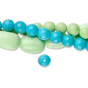 Bead Mix, Magnesite (dyed / Stabilized), Blue Green, 4-6mm Round Small Medium Nugget, Mohs Hardness 5. Sold Per Pkg (3) 15-inch Strands