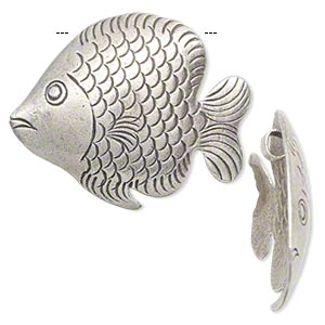 Focal, Hill Tribes, Antiqued Fine Silver, 33x29mm Fish. Sold Individually