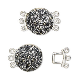 Clasp, 3-strand Hook, Marcasite (natural) Antiqued Sterling Silver, 15mm Round Heart. Sold Individually