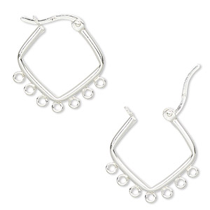 Hoop Earring Findings Sterling Silver Silver Colored