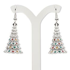 cd193a71e Earring, Czech glass rhinestone and imitation rhodium-plated