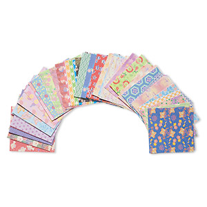 Origami Paper, Washi (imitation), Multicolored, 3x3-inch Square, 45 Total Patterns. Sold Per Pkg 180 Sheets