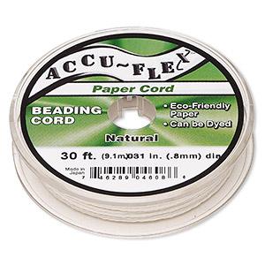 Beading Cord, Accu-Flex®, Paper, White, 4 Strand, 0.8mm Diameter. Sold Per 30-foot Spool 5297BS