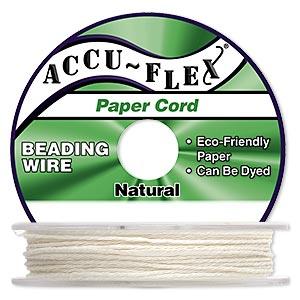 Beading Cord, Accu-Flex®, Paper, White, 4 Strand, 0.8mm Diameter. Sold Per 100-foot Spool 5298BS