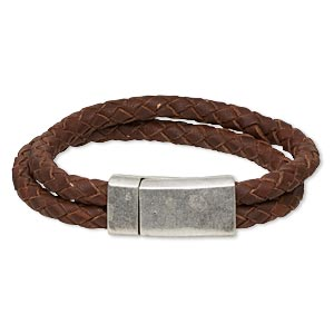 "Bracelet, 2-strand, Leather (dyed) Antique Silver-plated ""pewter"" (zinc-based Alloy), Rustic Brown, 12mm Wide Braided, 7 Inches 31x15mm Rectangle Magnetic Clasp. Sold Individually 5306JD"