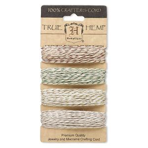 Cord, Hemptique®, hemp, multicolored with metallic flecks, 1mm diameter, 20-pound test. Sold per 120-foot set, 4 colors, 30 feet per color.