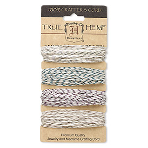 Cord, Hemptique®, hemp, multicolored with metallic flecks, 1mm diameter, 20-pound test. Sold per 120-foot set, 4 colors, 30 feet per color.