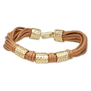 "Bracelet, 11-strand, Leather (dyed) Gold-finished ""pewter"" (zinc-based Alloy), Light Brown, 13mm Wide 12mm Matte Hammered Round Tube, 7 Inches Hook-and-eye Clasp. Sold Individually 5316JD"