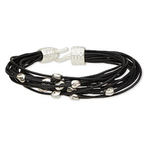 "Bracelet, 16-strand, Leather (dyed) Silver-finished ""pewter"" (zinc-based Alloy), Black, 17mm Wide Matte Mini Nugget, 7-1/2 Inches Hook-and-eye Clasp. Sold Individually 5318JD"
