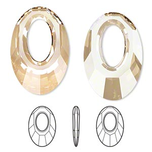 Focal, Swarovski® Crystals, Crystal Passions®, Crystal Golden Shadow, 30x20mm Faceted Helios Pendant (6040). Sold Per Pkg 30 6040