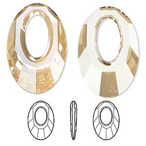 Focal, Swarovski® Crystals, Crystal Passions®, Crystal Golden Shadow, 40x27mm Faceted Helios Pendant (6040). Sold Per Pkg 6 6040
