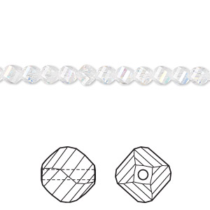 Bead, Swarovski Crystal, Crystal Passions®, Crystal AB, 4mm Faceted Helix (5020). Sold Per Pkg 12 5020