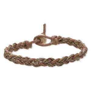 Bracelet, leather / bone (dyed) / hemp (natural), tan, 8mm wide braided design, 8 inches with bead and loop closure. Sold per pkg of 2.