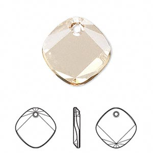 Drop, Swarovski® Crystals, Crystal Passions®, Crystal Golden Shadow, 18x18mm Faceted Metro Pendant (6058). Sold Individually 6058
