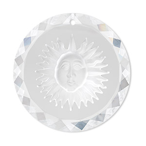 Focal, Swarovski® Crystals, Crystal Passions®, Crystal Clear, 35mm Faceted Round Etched Sun (6050). Sold Individually 6050