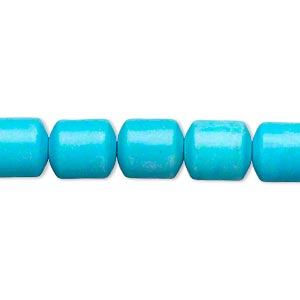 Bead, Magnesite (dyed / Stabilized), Blue, 10x9mm Drum, B- Grade, Mohs Hardness 3-1/2 4. Sold Per 15-inch Strand