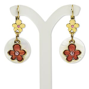 """Earring, Mother-of-pearl Shell (bleached) / Glass / Antiqued Brass-finished Brass / Steel / """"pewter"""" (zinc-based Alloy), Multicolored, 38mm Round Flower Design Leverback Earwire. Sold Per Pair 5428JD"""