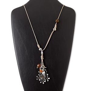 """Necklace, Waxed Cotton Cord / Glass / Resin / Silver-coated Plastic / Silver-finished Steel / Antique Silver-finished """"pewter"""" (zinc-based Alloy), Tan / Brown / Orange, Flower, 28-inch Continuous Loop. Sold Individually 5440JD"""
