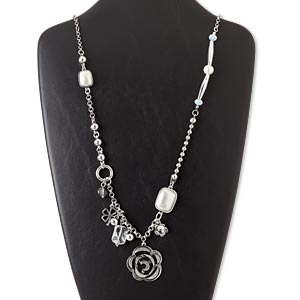 """Necklace, Silver-finished Steel """"pewter"""" (zinc-based Alloy) / Glass / Acrylic / Resin / Silver-coated Plastic, Grey / White / Clear, 36x36mm Flower, 32-inch Continuous Loop. Sold Individually 5442JD"""
