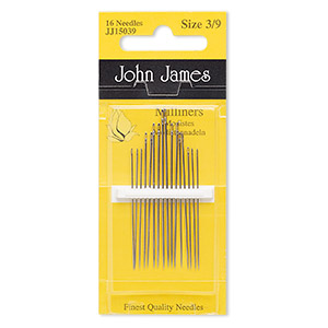 Needle, John James, Milliners, Nickel-plated Carbon Steel, #3 #9, 1-1/2 2 Inches. Sold Per Pkg 16
