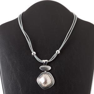 "Necklace, 3-strand, Leather / Silver-finished Steel / Antiqued Silver-finished ""pewter"" (zinc-based Alloy) / Resin / Silver-coated Plastic, Grey, 3-inch Extender Chain 40x40mm Rounded Diamond, 16 Inches Lobster Claw Clasp. Sold Individually 5461JD"