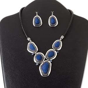 """Necklace Earring, Leather (dyed) / Glass Rhinestone / Resin / Silver-coated Plastic / Antique Silver-finished Brass / """"pewter"""" (zinc-based Alloy), Dark Blue, Freeform, 16 Inches 3-inch Extender Chain Lobster Claw Clasp, 1-1/2 Inch Earring Leverback Earwi"""