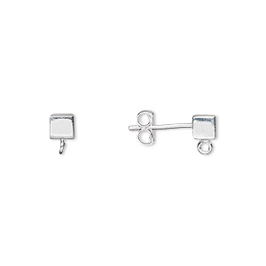 Earstud, Sterling Silver, 4x4mm Cube Open Loop. Sold Per Pair