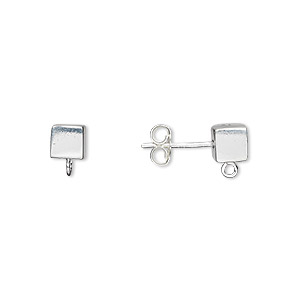 Earstud, Sterling Silver, 5x5mm Cube Open Loop. Sold Per Pair