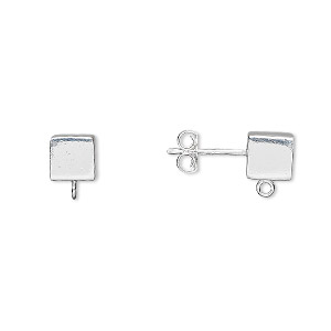 Earstud, Sterling Silver, 6x6mm Cube Open Loop. Sold Per Pair