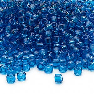 Seed Bead, Dyna-Mites™, Glass, Transparent Turquoise Blue, #6 Round. Sold Per 40-gram Pkg RR-15 6/0