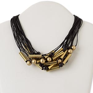 Necklace, Multi-strand, Antiqued Gold-finished Steel Copper / Acrylic / Waxed Cotton Cord, Gold Black, Tube Faceted Round, 18 Inches Toggle Clasp. Sold Individually 5569JD