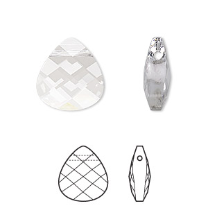 Drop, Swarovski® Crystals, Crystal Passions®, Crystal Clear, 15x14mm Faceted Puffed Briolette Pendant (6012). Sold Individually 6012