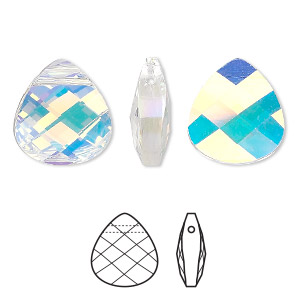 Drop, Swarovski® Crystals, Crystal Passions®, Crystal AB, 15x14mm Faceted Puffed Briolette Pendant (6012). Sold Individually 6012
