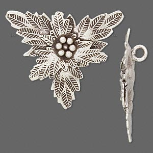 Focal, Hill Tribes, Antiqued Fine Silver, 30x26mm Flower. Sold Individually