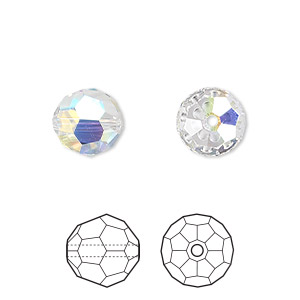 Bead, Swarovski® Crystals, Crystal Passions®, Crystal AB, 10mm Faceted Round (5000). Sold Per Pkg 2 5000