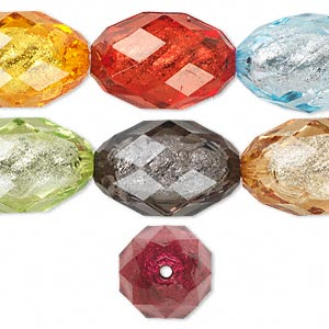 Bead, Acrylic, Assorted Colors Silver-colored Foil, 30x20mm Faceted Oval. Sold Per Pkg 14