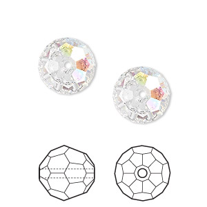 Bead, Swarovski® Crystals, Crystal Passions®, Crystal AB, 12mm Faceted Round (5000). Sold Per Pkg 2 5000