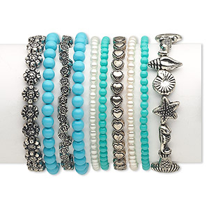 Bracelet, Stretch, Resin Antique Silver-coated Plastic, Turquoise Blue / Green / White, 4-13mm Wide Assorted Shape, 7 Inches. Sold Per Pkg 10 5723JD