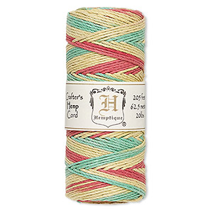 Cord, Hemptique®, polished hemp, multicolored, 1mm diameter, 20-pound test. Sold per 205-foot spool.