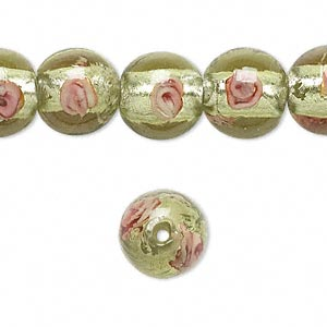 Bead, Lampworked Glass, Light Green Pink Silver-colored Foil, 12mm Round. Sold Per 16-inch Strand