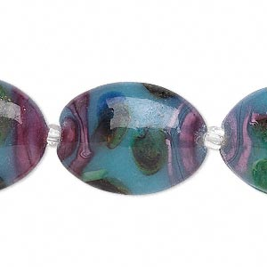 Bead, Lampworked Glass, Multicolored Silver-colored Foil, 26x20mm Oval. Sold Per 16-inch Strand