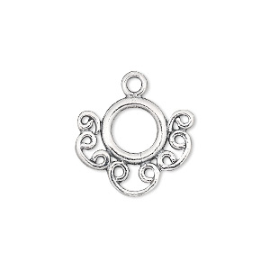 Drop, JBB Findings, Antiqued Sterling Silver, 19x16mm Fancy Round. Sold Individually 7093-LINK ROUND