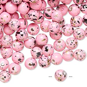 Bead, Acrylic, Pink Gold/silver/black Speckles, 6mm Round. Sold Per Pkg 800