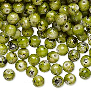 Bead, Acrylic, Green Gold/silver/black Speckles, 6mm Round. Sold Per Pkg 800