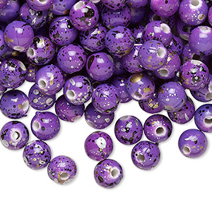Bead, Acrylic, Purple Gold/silver/black Speckles, 6mm Round. Sold Per Pkg 800