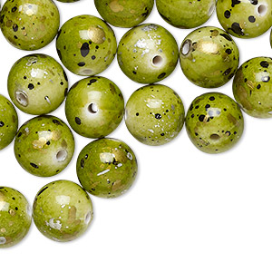 Bead, Acrylic, Green Gold/silver/black Speckles, 10mm Round. Sold Per Pkg 170