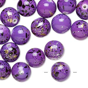 Bead, Acrylic, Purple Gold/silver/black Speckles, 10mm Round. Sold Per Pkg 170